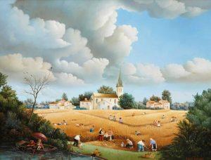(421)- Dans les blés-Scène campagnarde-1979-50x65 cm