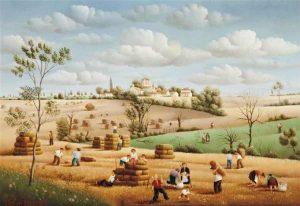 (423) les meules de blé-24x35 cm