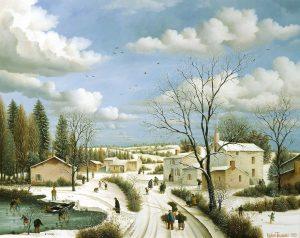 (533)- Par un beau matin d'hiver sur un village vendéen. hsb 50x65 cm.