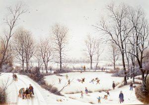 (576)-La Brossardière-La Roche sur Yon-La Mare enneigée-1985-33x46 cm.