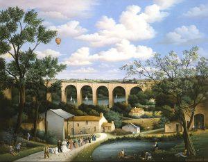 (577)- Le viaduc de Barbin-1985-hsb 50x65 cm.