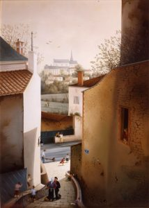 (587)- L'Impasse du presbytère au Poiré sur Vie – Vendée-1985-46x38 cm.