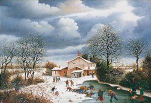 (628)-bis- Village animé en hiver. 1987-24x35cm