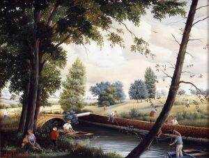 (643)- Détente sur le pont cassé à Mouchamp- 1985-hsb 27x35 cm.