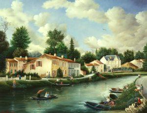 (685)- sur le Grand Canal - Coulon - Dans le Marais Poitevin-1991-hsb 50x65 cm.
