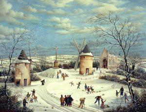 (688)- Le Mont des Alouettes sous la neige-1991-hsb 50x65 cm.