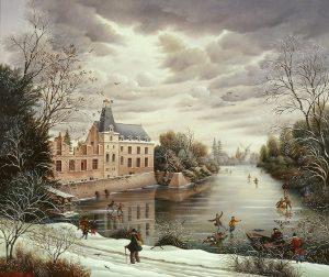 (701)- Le Château du Puy du Fou sous la neige-1991-hsb 38x46 cm.