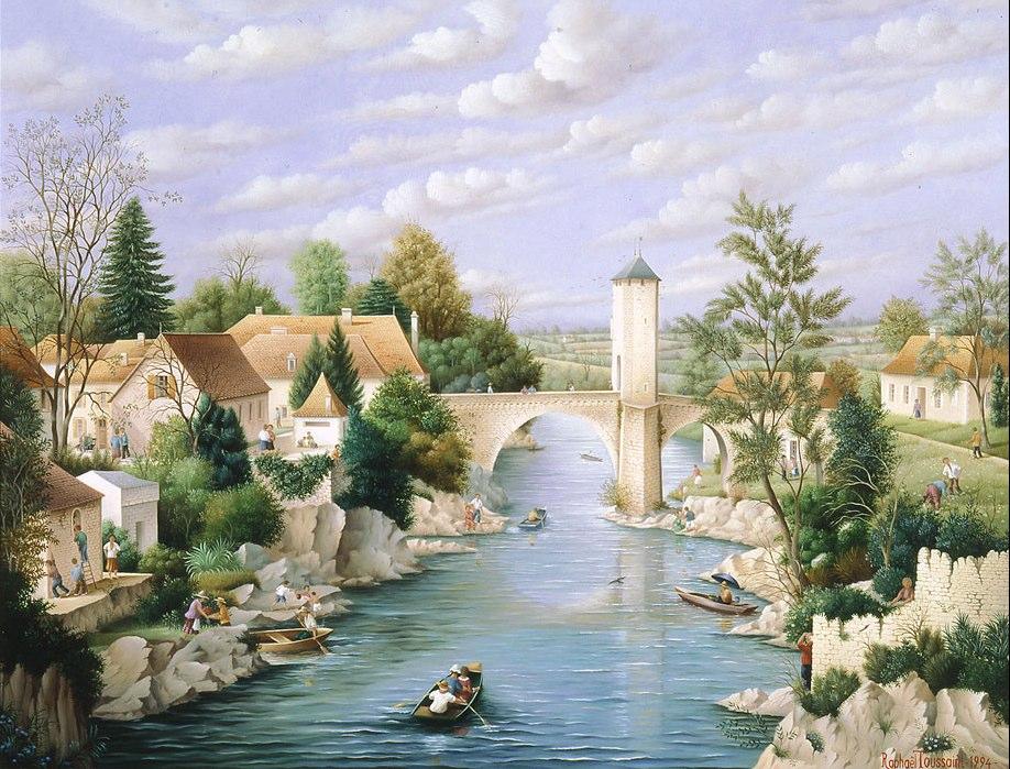 (731)- Le pont vieux sur le Gave de Pau à Orthez-1994-50x65 cm.