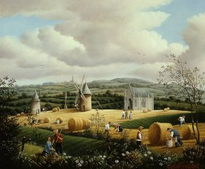 (734)- Le Mont des Alouettes au champ de blé-1994-hsb 22x27 cm.