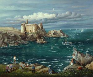(742)- Le vieux château de l'Île d'Yeu-1995-hsb 38x46 cm.
