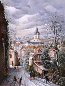 (807)-Orthez et son clocher- Pyrénées Atlantiques-2002-35x27 cm.