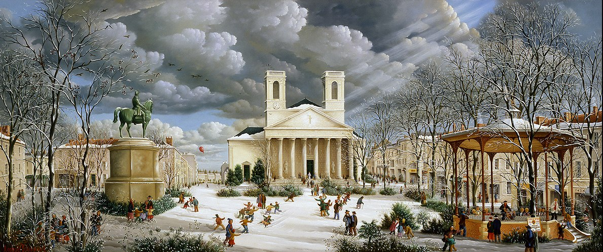 (818)-La Place Napoléon sous la neige-2002-hsb 35x95 cm.