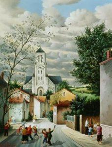 (821)-La rue de l'église-Saint Etienne du Bois-2004-hsb 35x27 cm.
