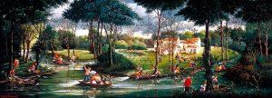 (827)-La Venise Verte-Par une belle journée d'été-2005-hsb 35x95 cm.