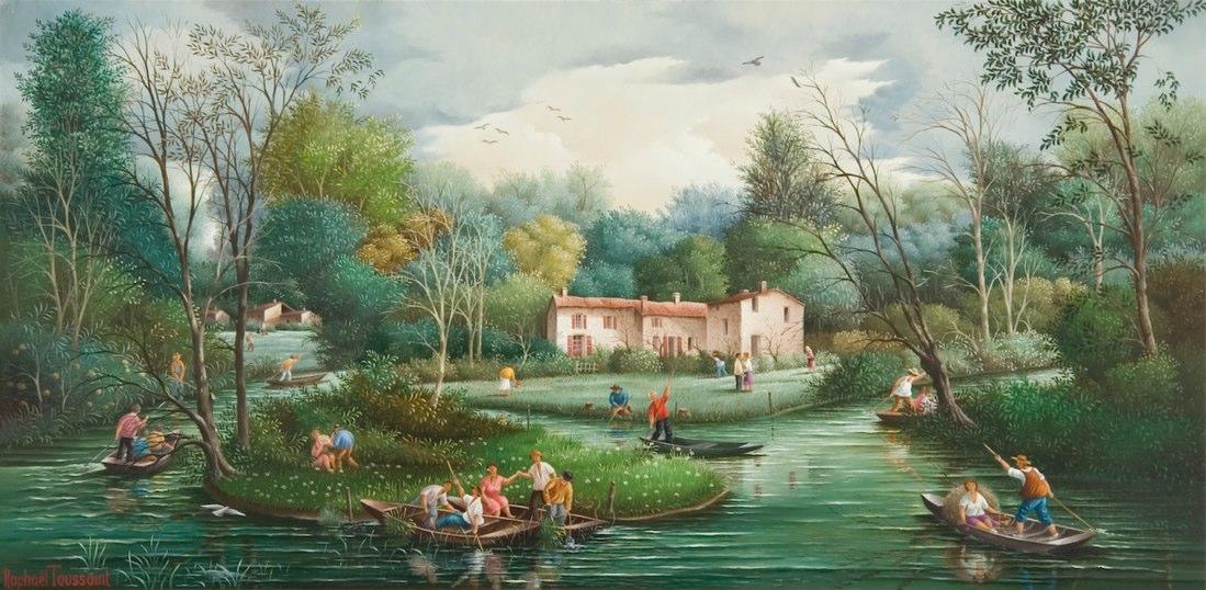 (836)-Dans le Marais poitevin-2007-hsb 28x55 cm.