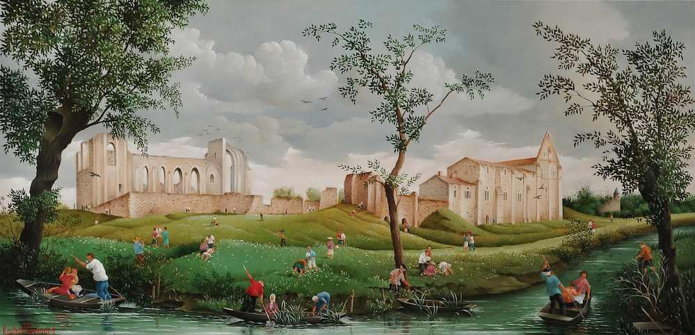 (879)-Autour de l'Abbaye de Maillezais dans le marais poitevin-hsb 27x55 cm.