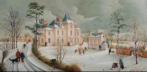 (882)-Hiver sur le Château de la Richerie - Beaurepaire en Vendée. hsb 28x55 cm. jpg
